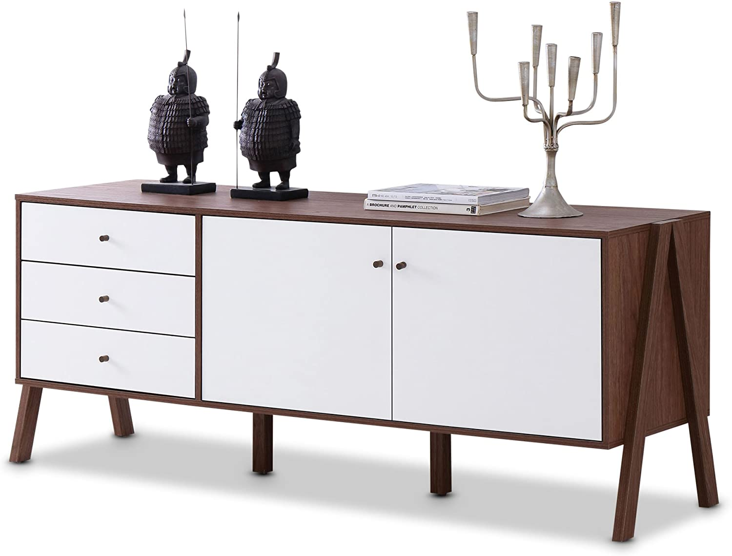 Baxton Furniture Studios Harlow Mid-Century Modern Scandinavian Style Wood Sideboard, White and Walnut