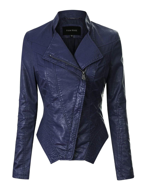Ijkw056 Navy bluee Instar Mode Women's Long Sleeve Zipper Closure Moto Biker Faux Leather Jacket