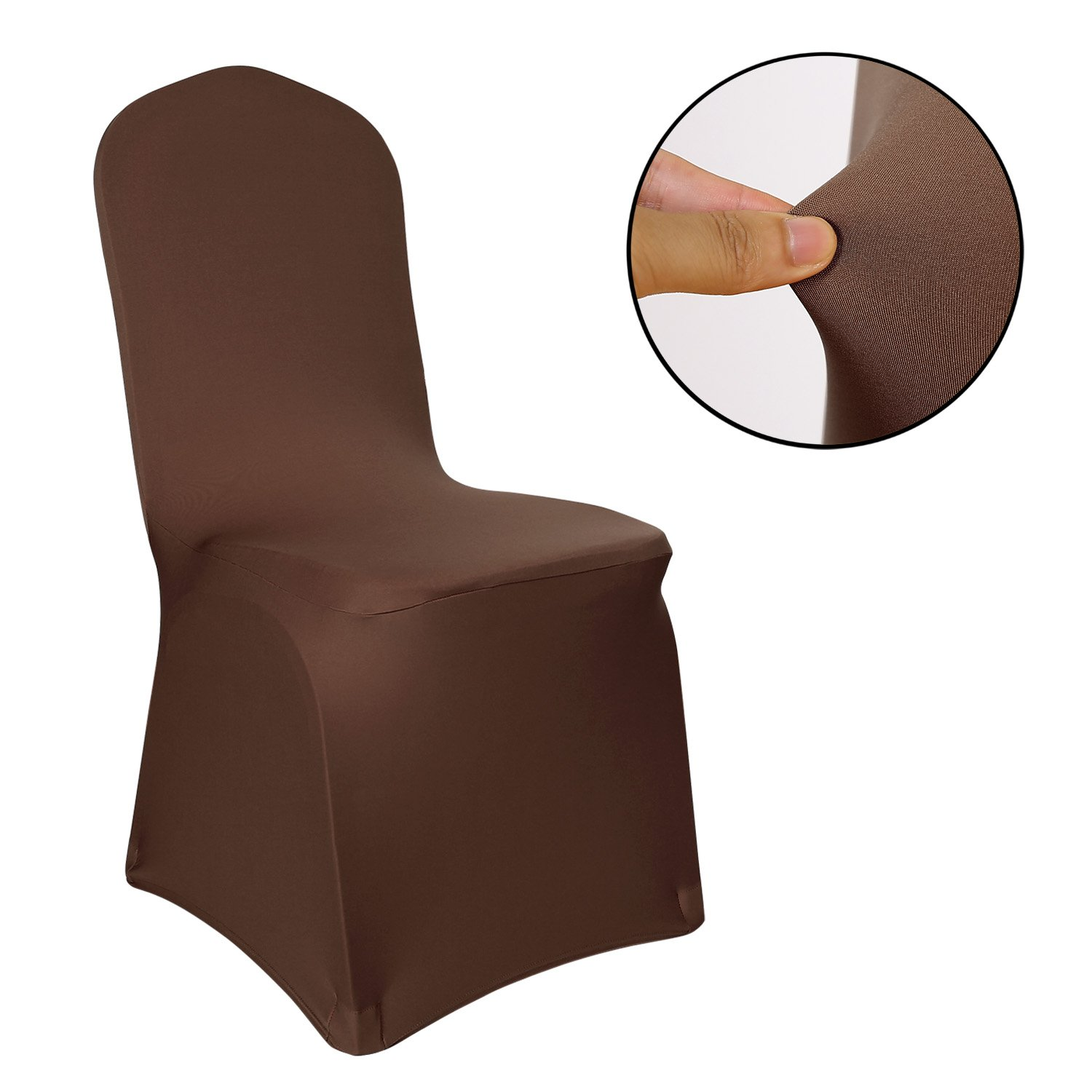 Deconovo Set of 4pcs Brown Color Stretch Chair Covers Spandex Dining Chair Cover for Wedding Banquet Party by Deconovo (Image #2)