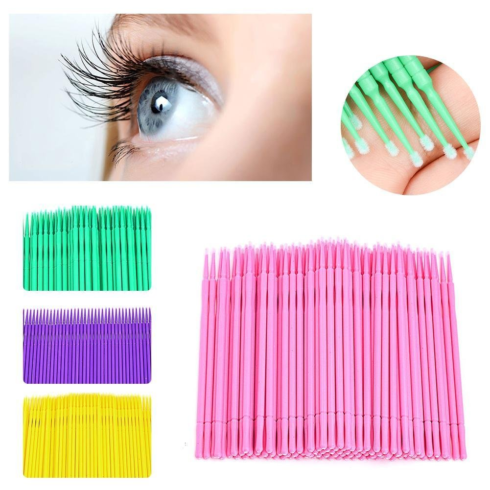 HERME 100Pcs Disposable Cotton Swab Eyelash Extensions Applicators Yellow