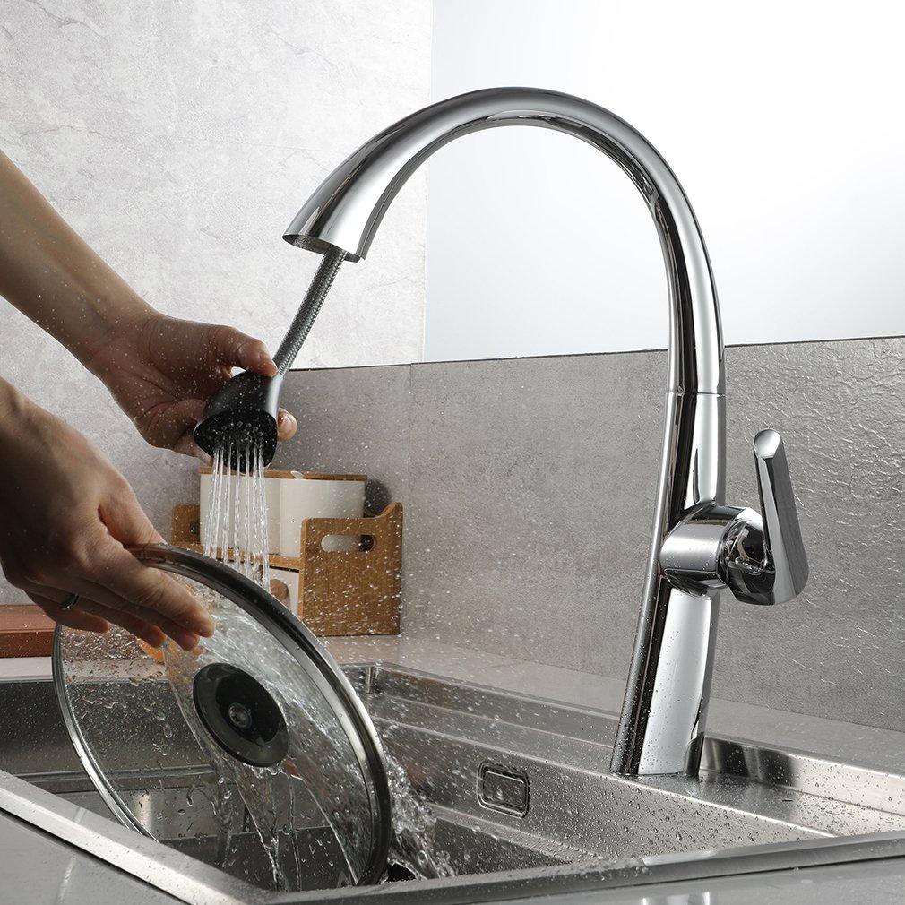 chrom/é brillant ubeegol Robinet Cuisine /à rallonge avec douchette rotative /à 360 /° Robinet de lavabo /à levier unique Robinetterie de lavabo Robinet de cuisine en cuivre