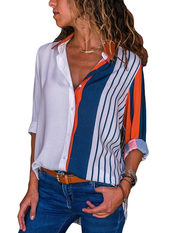 DOKOTOO Blusa Mujer de Rayas Verticales multicoleur Blouse T Shirt S-XXL
