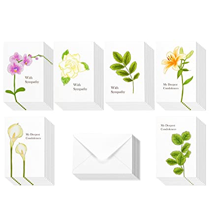 sympathy cards box set 48 pack sympathy cards 6 floral foliage designs condolence - Sympathy Cards