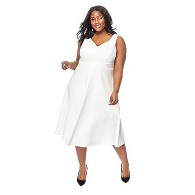 Debut Womens Ivory \'Pretty Woman\' V-Neck Midi Plus Size Prom Dress ...