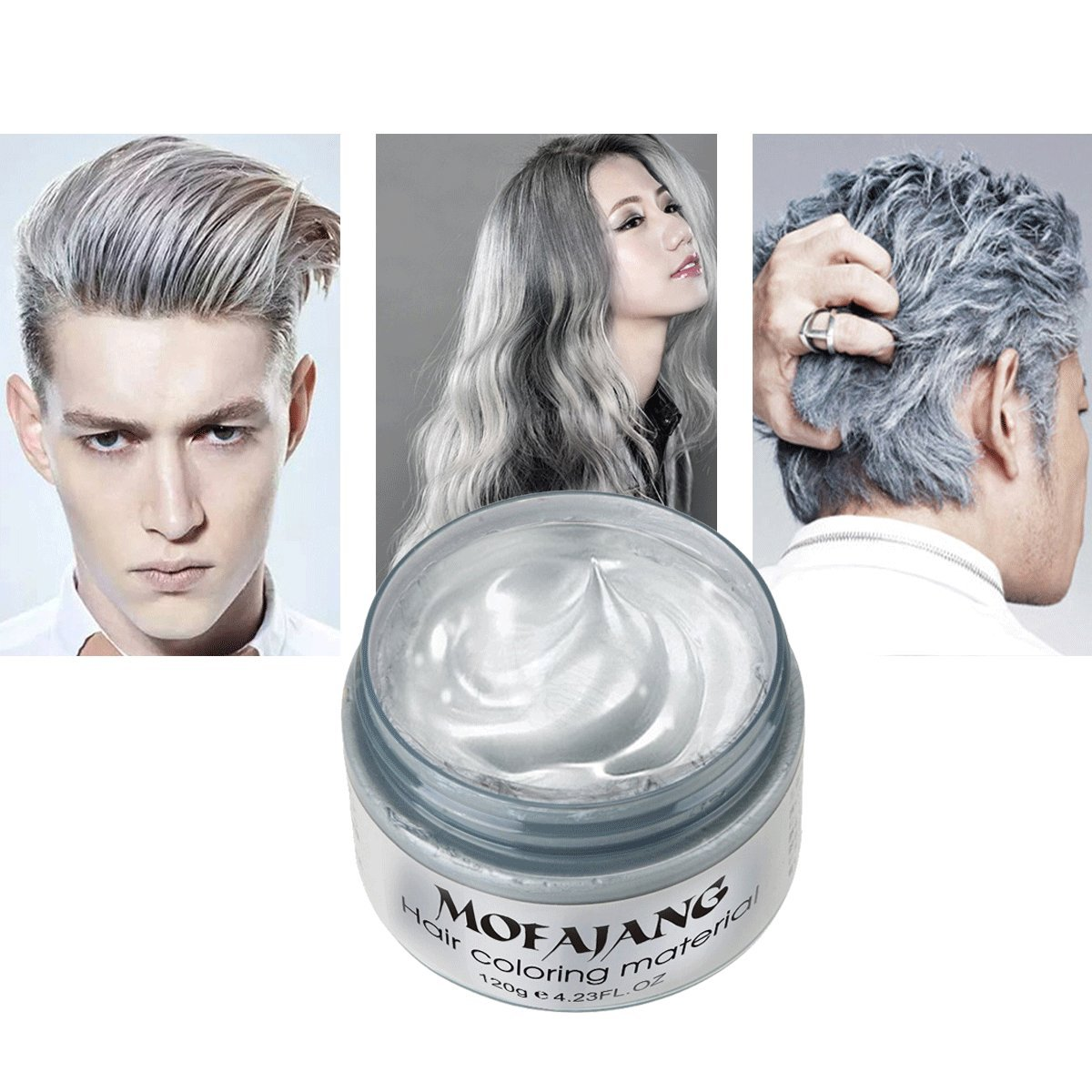TailaiMei Temporary Silver Gray Hair Wax 4.23oz Instant Hairstyle Mud Cream Hair Pomades for Party Cosplay Nightclub Masquerade Halloween.