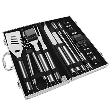 Sunba Youth BBQ Tool Set, BBQ Tools, Stainless Steel Barbecue Sets, Heavy Duty Grill Tools Set with Case, Barbecue Grilling Utensils – Spatula, Tongs, Forks, Basting Brush, Knife Skewers 20pcs