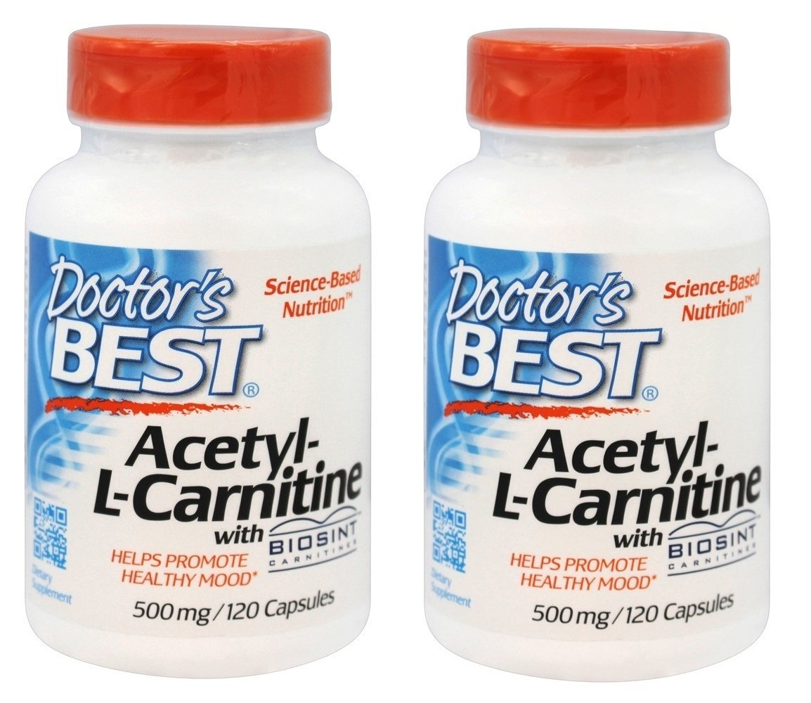 Doctor's Best Acetyl-L-Carnitine, 500 mg, 120 Veggie Caps Pack of 2
