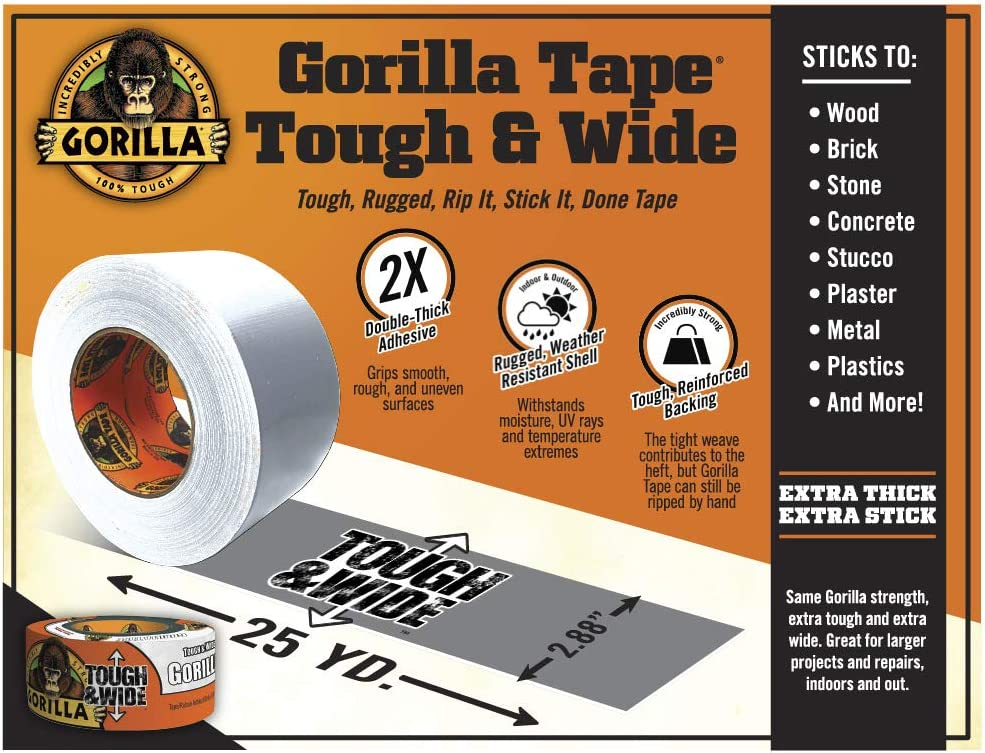 Gorilla White Tough /& Wide Duct Tape White, Pack of 1 2.88 x 25 yd