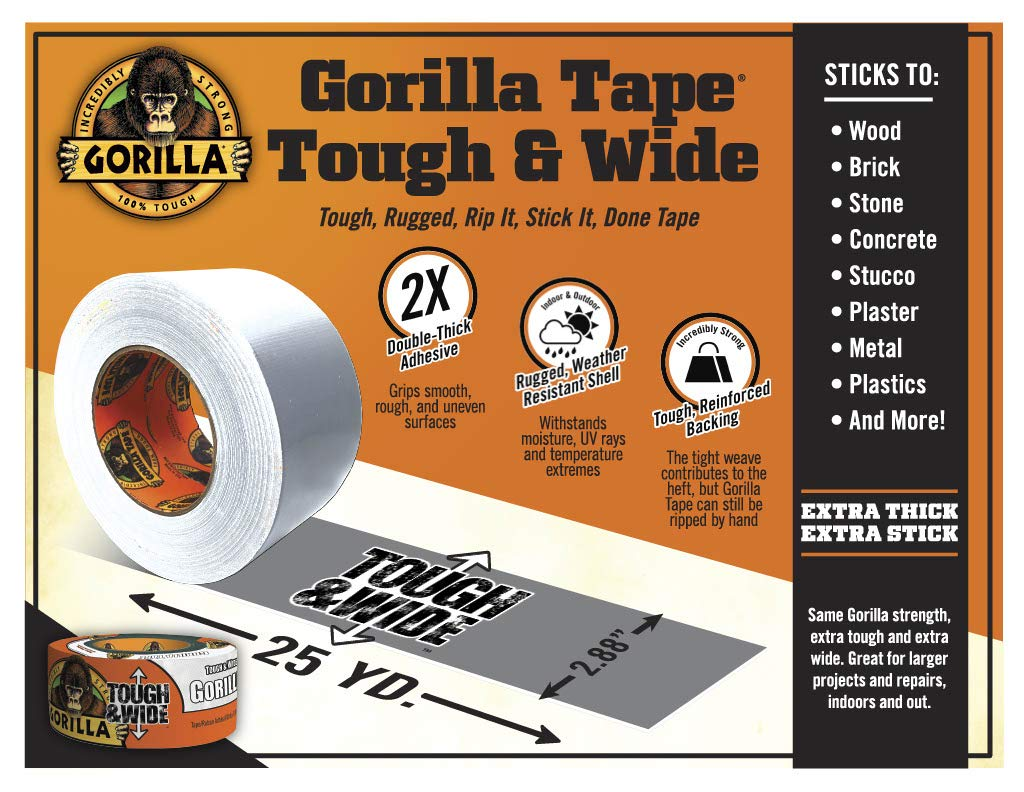 Gorilla 6025302 White Tough & Wide Duct Tape, 1 - Pack, by Gorilla (Image #2)