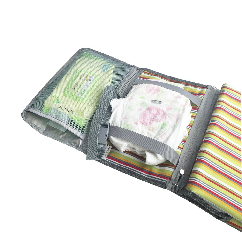 D-Jeesian Portable Changing Mat Baby Foldable Waterproof Pad Cover Nappy Change Travel Hand Bag with Zipper in Lightweight