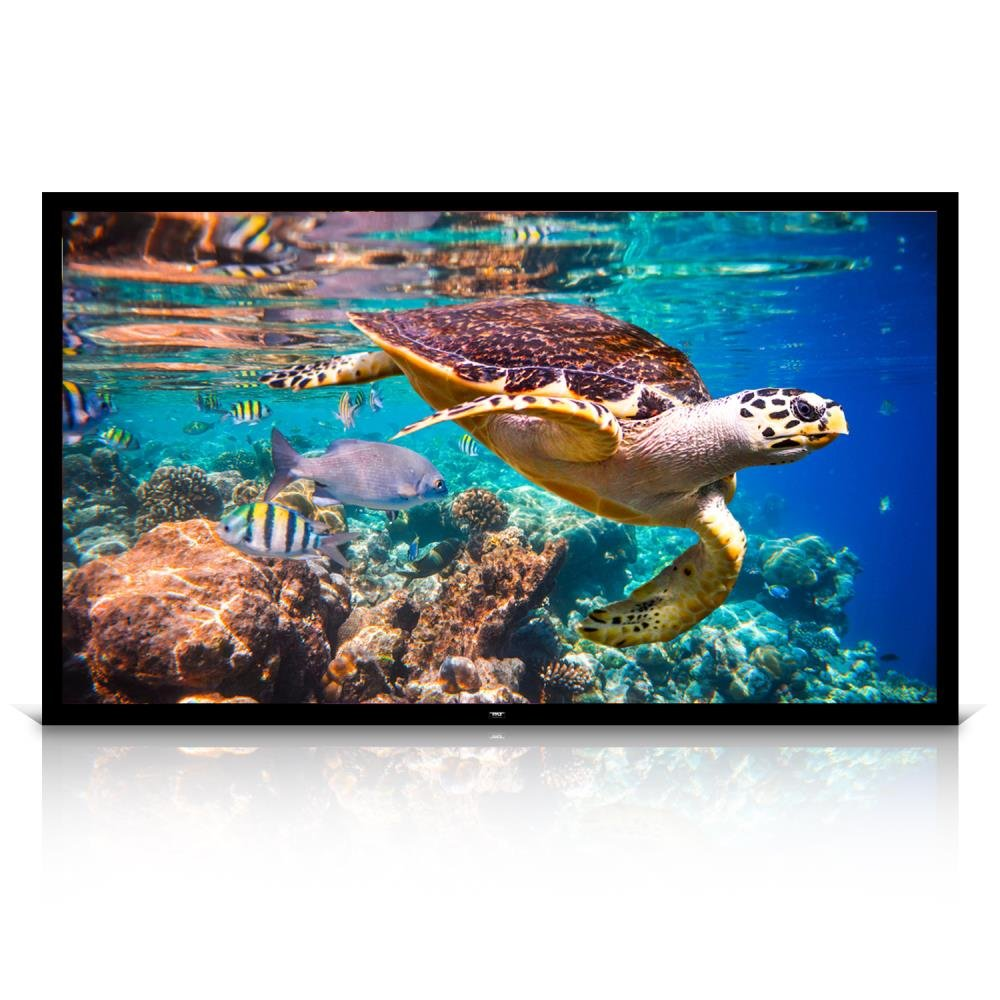 Pyle 120'' Matt White Home Theater TV Wall Mounted Fixed Flat Projector Screen - 120 inch 16:9 Full HD Projection - Easy to Set Up for Room Video, Slideshow, Movie / Film Showing - PRJTPFL122