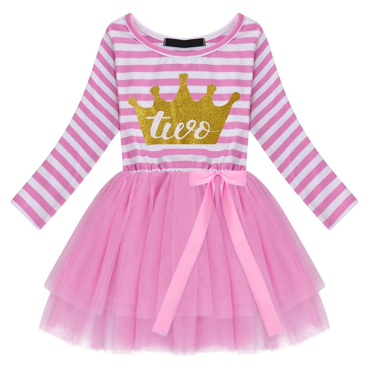 OBEEII Bambine Ragazze Costume Compleanno Neonato Stripes Pattern Stampa Maglia Tulle Vestito Principessa Tutu Gonna per Festa Cerimonia Fotografia 1-3 Anni