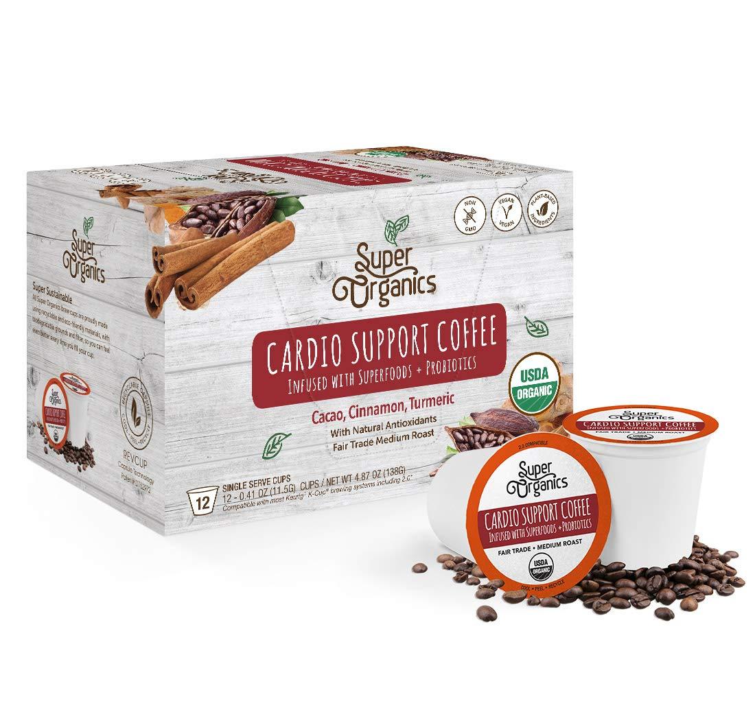 Super Organics Cardio Support Coffee Brew Cups With Superfoods & Probiotics | Keurig K-Cup Compatible | Cardiovascular Health | Medium Roast, USDA Certified Organic, Vegan & Fair Trade Coffee, 12ct