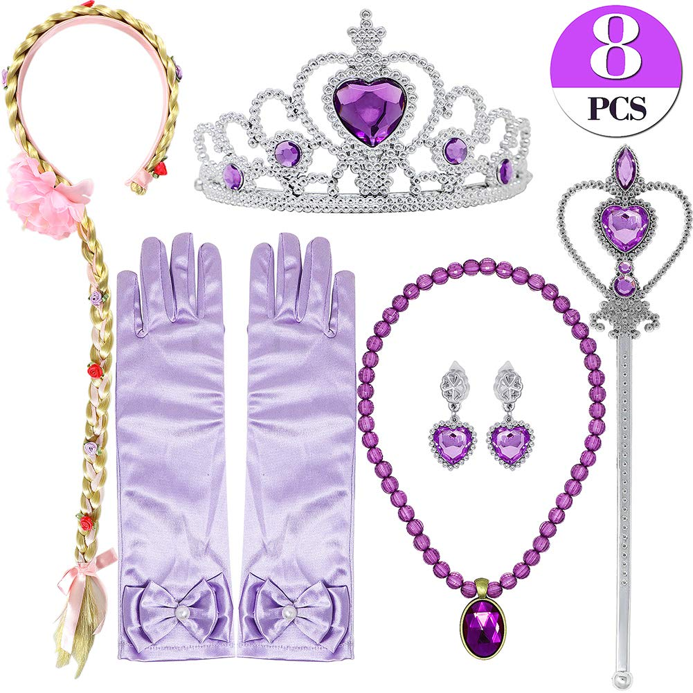 Bascolor Princess Rapunzel Sofia Dress up Accessories including Necklace Tiara Scepter Earrings Gloves Braid for Princess Cosplay Fancy Dress Jewelry Accessories with Braid