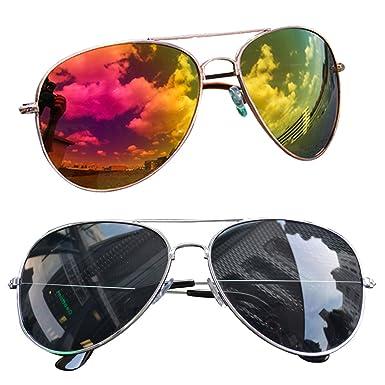 2 Stück Pilotenbrille Verspiegelt Fliegerbrille Sonnenbrille Pornobrille Brille (Schwarz+ Silber) (Silber + Schwarz) N2fIGlXtM