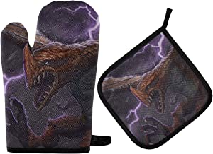 ALAZA Red Fantasy Dragon Creature Flying Through Lightning Storm Oven Mitts and Pot Holders Sets Heat Resistant Kitchen Oven Gloves Potholder for Cooking Baking Grill