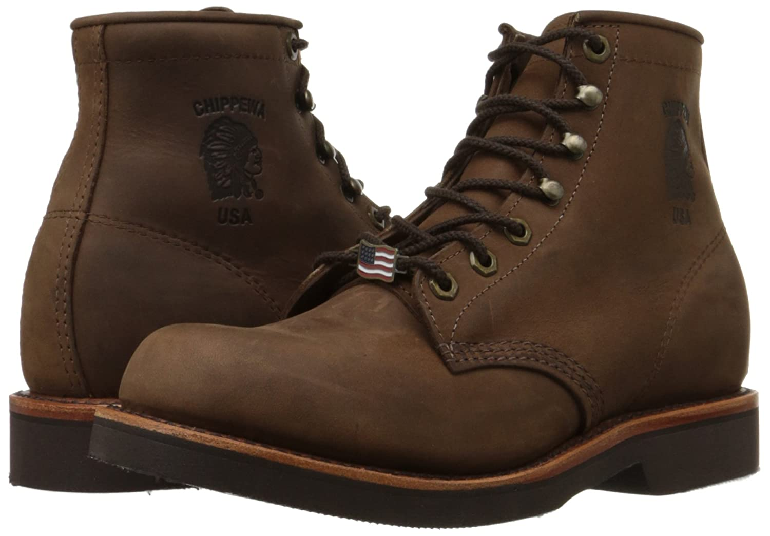 Chippewa Mens 6 Rugged Handcrafted Lace-Up Boot