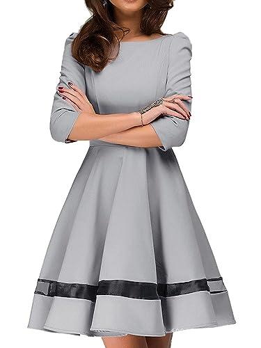Choies Women's Mesh Panel 3/4 Sleeve A-line Super Slim Shirt Length Short Dress