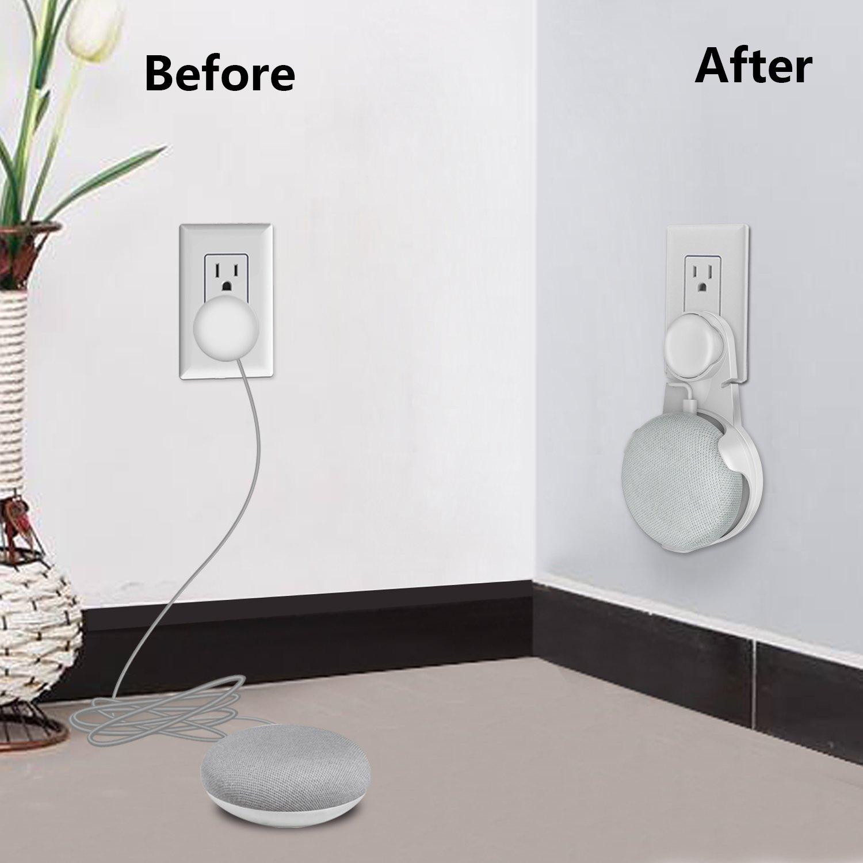 Steckdose Wandhalterung für Google Home Mini, SPORTLINK Halterung Ständer für Home Voice Assistants , Wall Mount / Direkt Aufgehängt Stecker in Küche Badezimmer Schlafzimmer, Versteckt die Google Home Mini Kabel (Weiß)