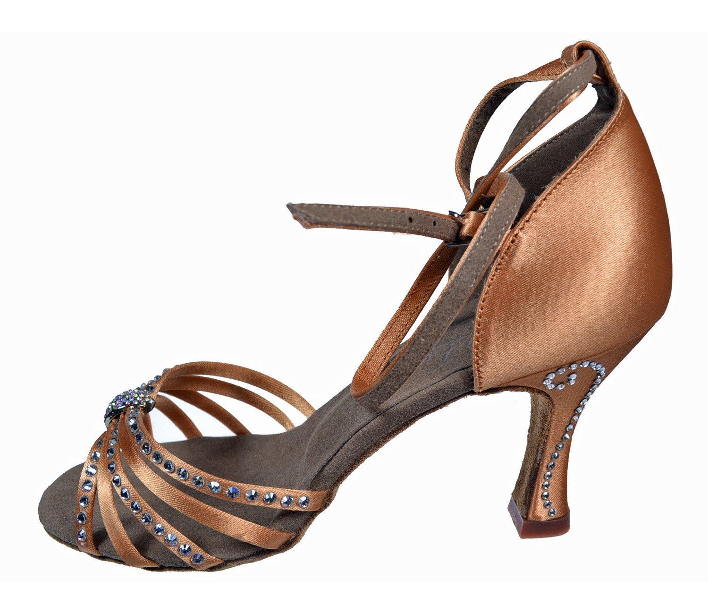 Very Fine Ladies Women Ballroom Dance Shoes EKSA11006 Dark Tan Satin Clear Rhinestones 3'' Heel (6.5M)