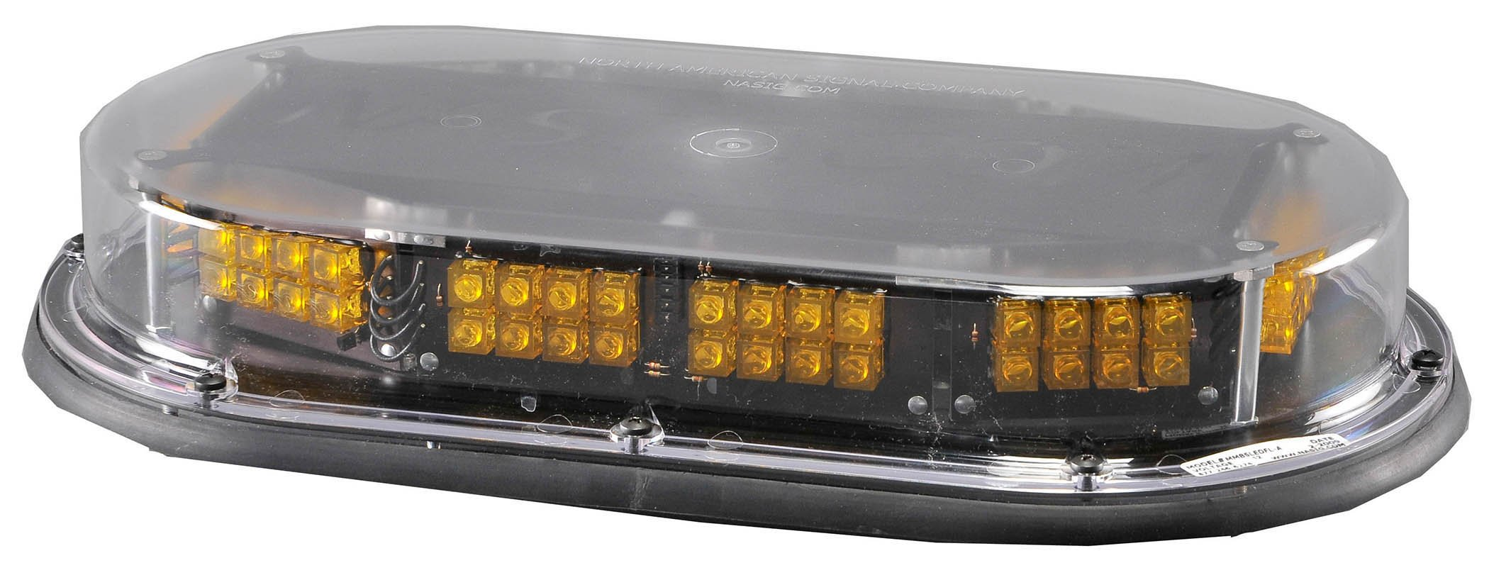 North American Signal MMBSLEDFL-C/A LED Mini Light Bar with Permanent Mount, 12/24V, 1.4A Current, Amber by North American Signal