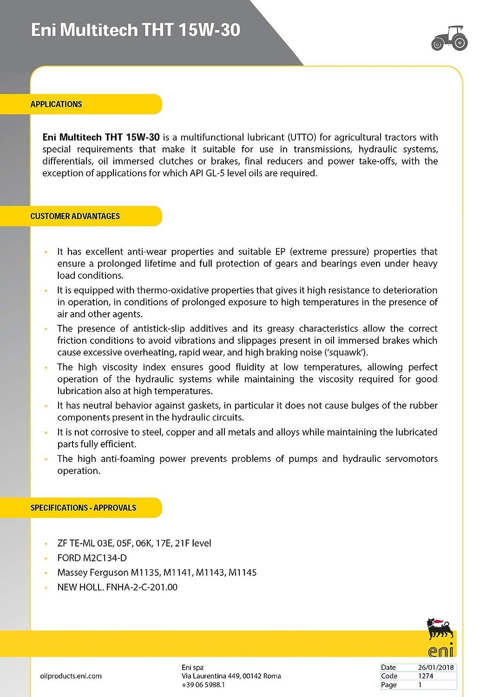 ENI Multitech THT de 4 litros (Aceite para Cambio y Elevador ...