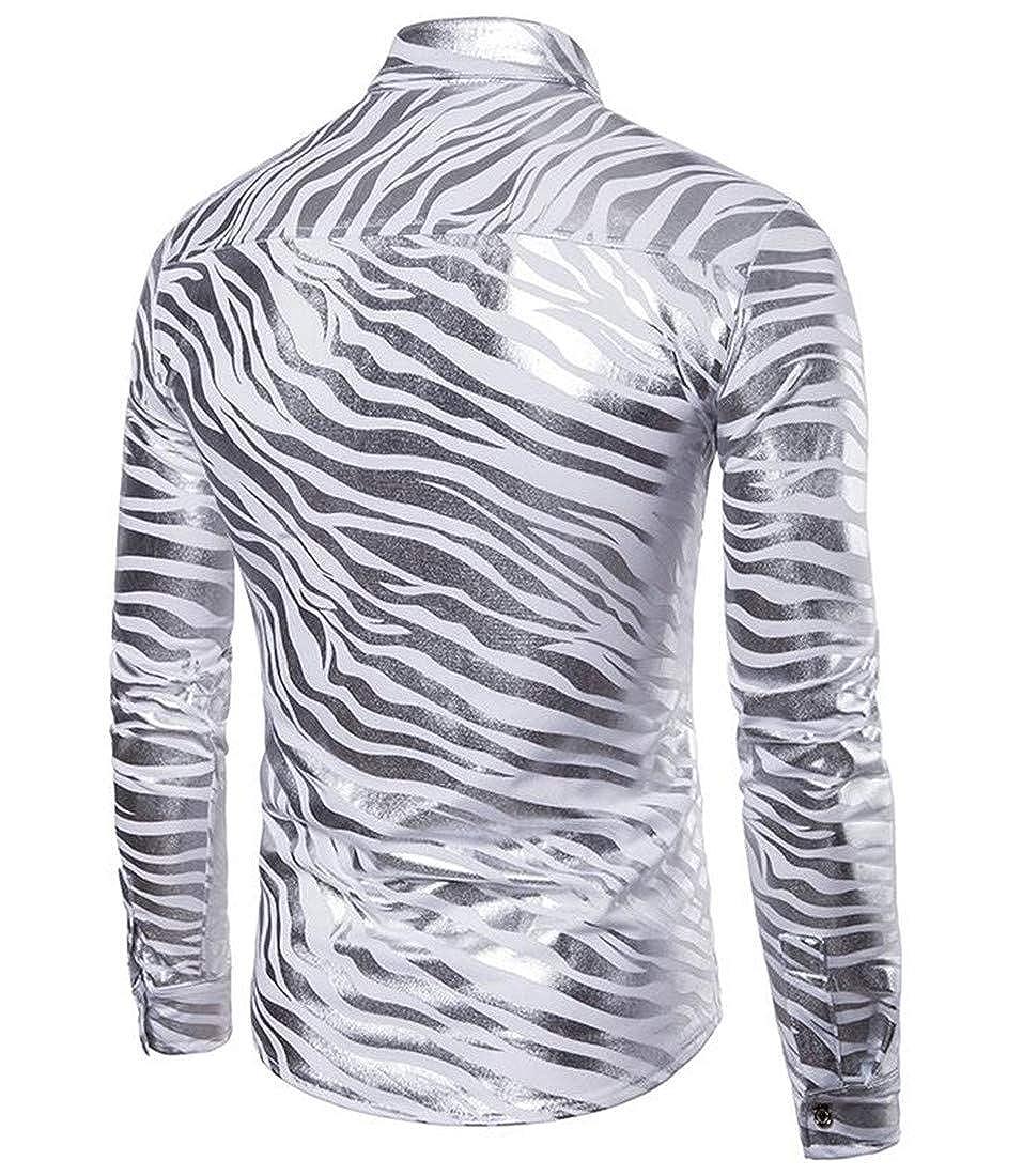Macondoo Men Print Casual Slim Fit Striped Button Down Long-Sleeve Shirt