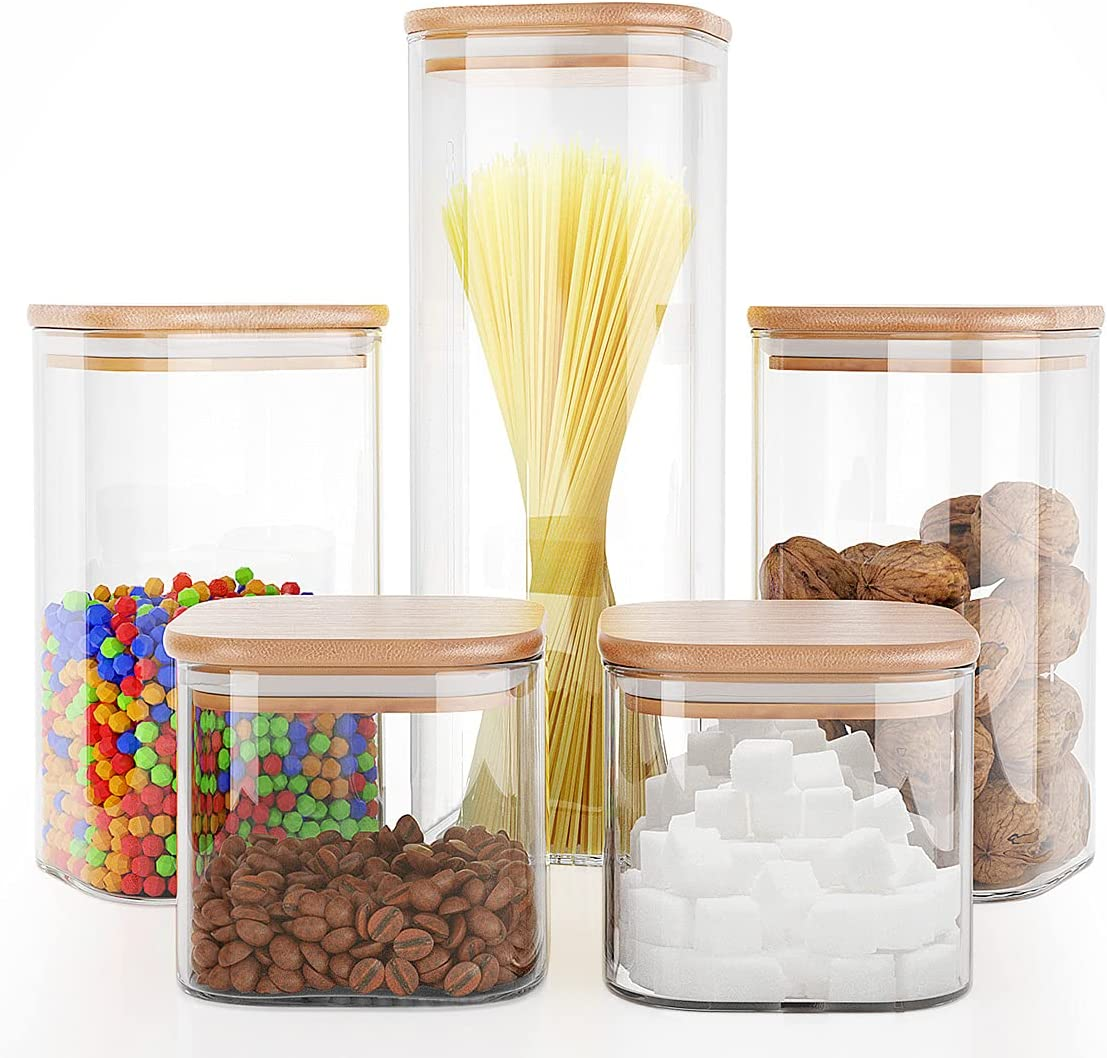 Liuruiyu Food Storage Jars 5 pcs (Square),Jars Set of 5,Glass Storage Containers Clear Glass Food Canister with Bamboo Lid Airtight For Serving Tea, Coffee, Flour, Sugar, Candy, Cookie, Spice and More