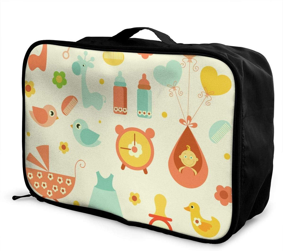 Baby Travel Carry-on Luggage Weekender Bag Overnight Tote Flight Duffel In Trolley Handle