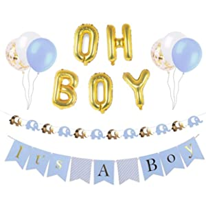 Baby Shower Decorations for Boy, Elephant Baby Shower Decorations, Set Includes: its a boy Banner, oh boy Balloons,Elephant Garland,Blue,White and Gold Confetti Balloons,Baby boy Shower Decorations