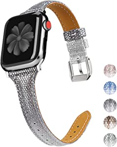 Wearlizer Leather Compatible with Apple Watch Bands' 42mm 44mm for iWatch Womens Gradient Glitter Smooth Thin Shiny Wristband Feminine Bling Strap, Series 5 4 3 2 1 Sport Edition-Space Gray Silver