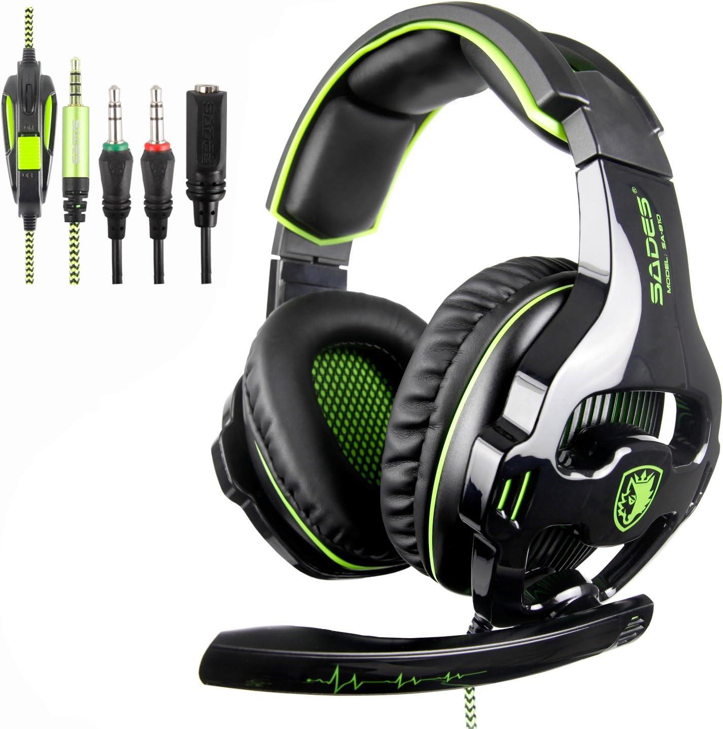 [nuevo revisado Versión] Sades 810s Stereo Gaming Headset Auriculares con compensación de volumen Mic para New Xbox One, PS4, PS4 Pro, PC, Laptop, Mac, Phone – Verde
