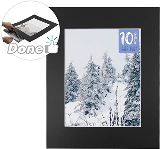 Pack of 25 Black 8x10 Slip-in Pre-Adhesive Photo Mat for 5x7 Picture with Backing Board pre-Assembled Includes 25 Clear Bags Golden State Art