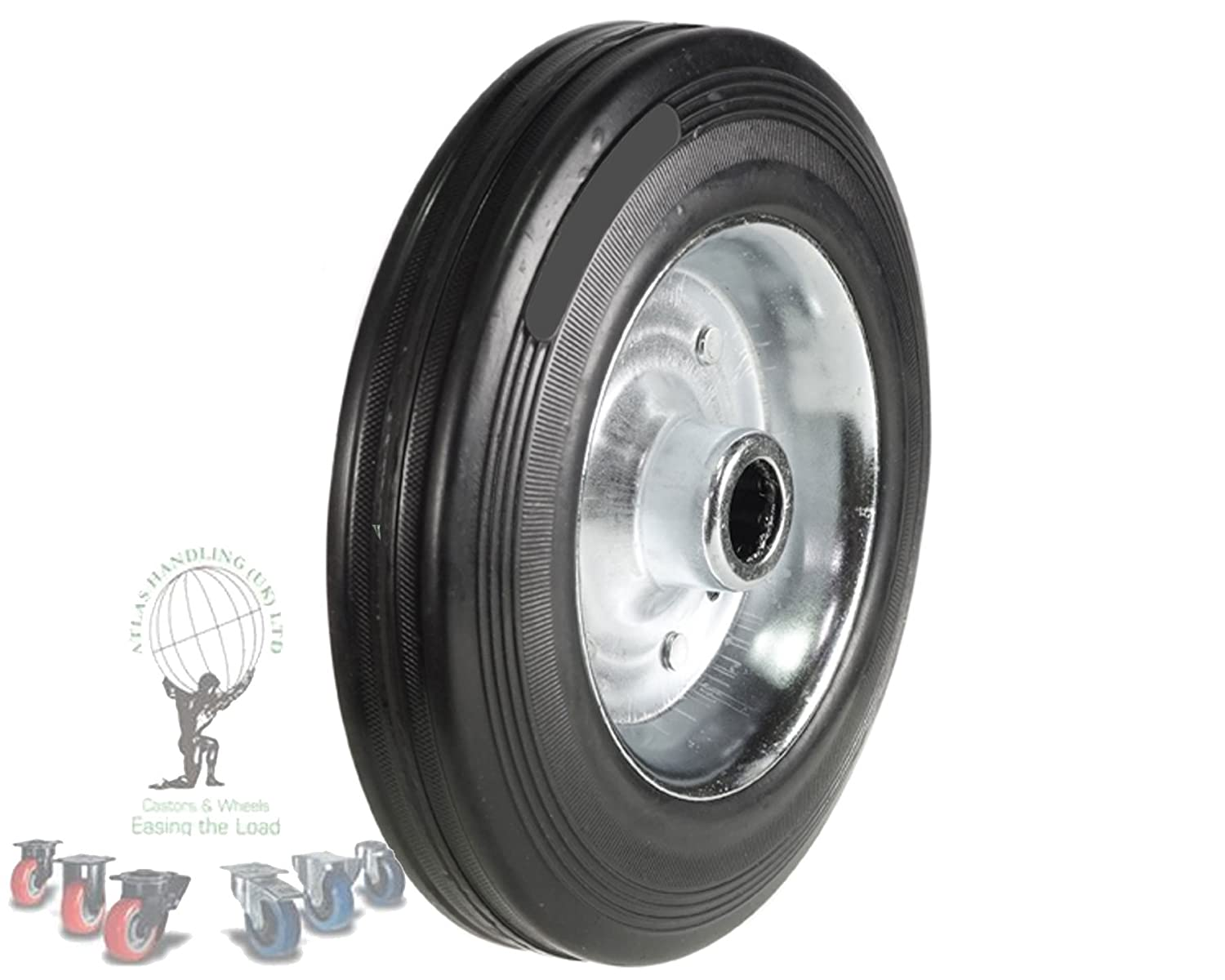 125mm Wheel with Rubber on Steel Disc Centre 100kg Capacity Atlas Handling Uk Ltd