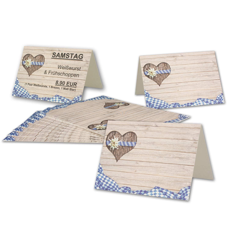 300 Tisch-Karten Bavaria DIN A7 - Falt-Karten 7,4 x 10,5 cm bedruckbar - Namens-Kärtchen für Feste, Biergarten, Gastro, Hotel - von Ihrem Glüxx-Agent B07GJN5HQJ | Starker Wert