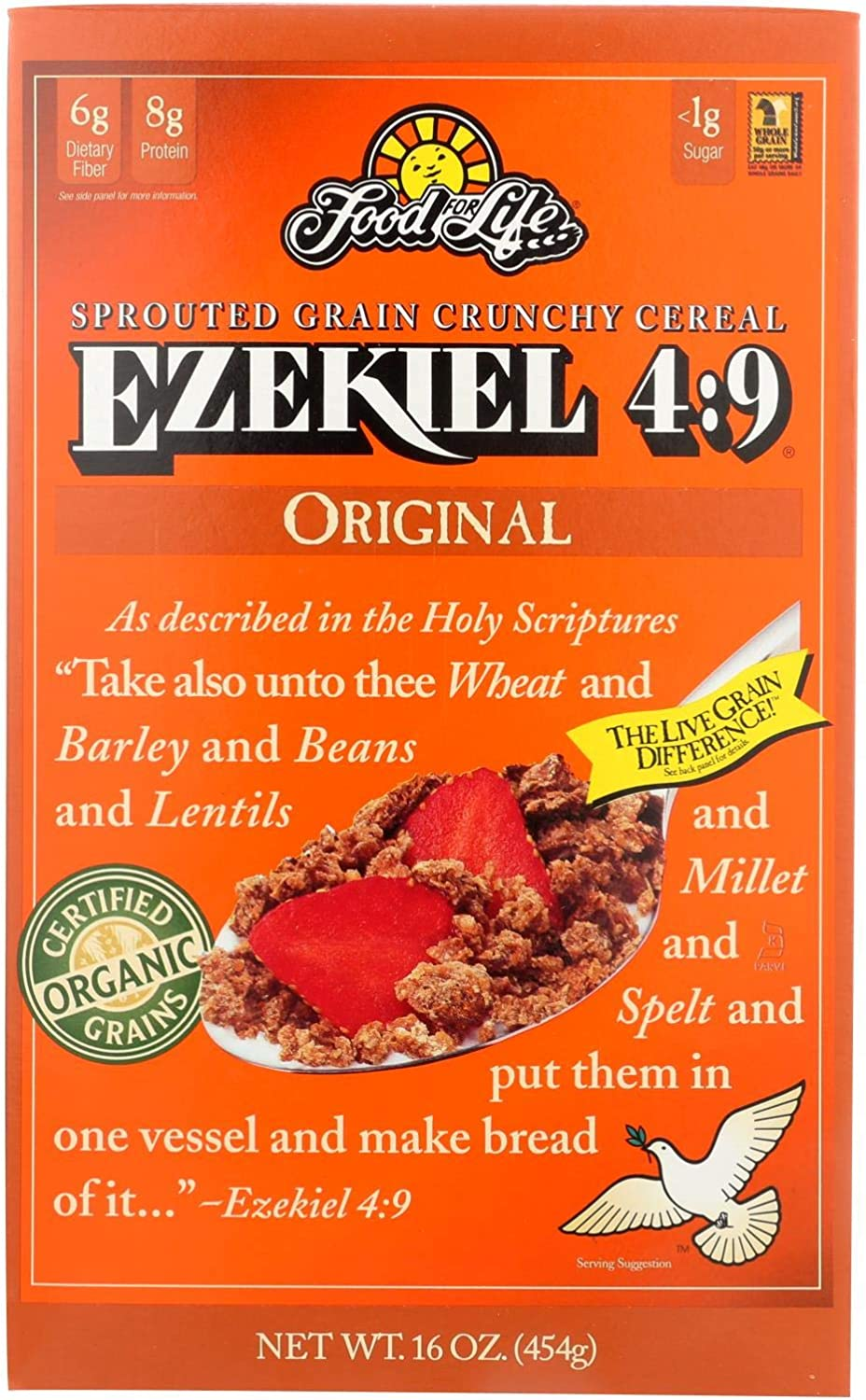 Food For Life Baking Co. - Organic - Ezekiel 4-9 - Sprouted Whole Grain Crunchy Cereal - Original - 16 oz - case of 6 - Dairy Free - Yeast Free -Vegan