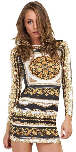 Moda Retro Vintage Gold Chain Flores Apretado Party Vestido de Tubo Ajustado Mini Corta Corto Verano