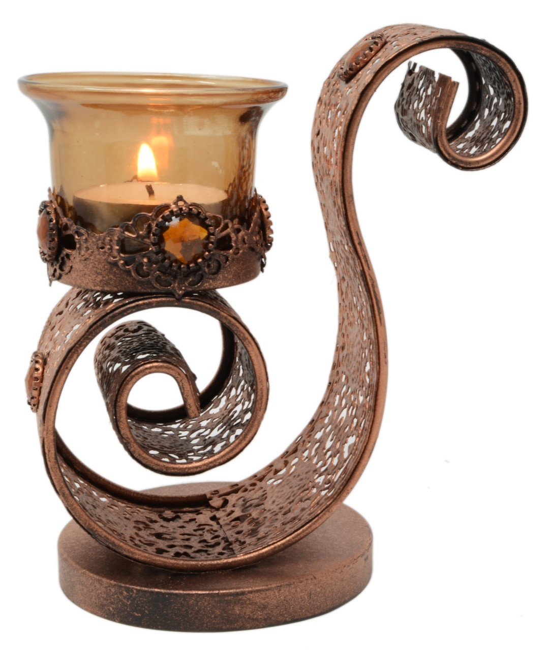 9d2fb6ef0b Piquaboo Swirl Copper Bejewelled Moroccan Tealight Holder 14 cm Height:  Amazon.co.uk: Kitchen & Home