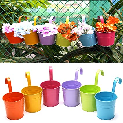 Amazon multicolor metal iron indoor outdoor garden planters multicolor metal iron indoor outdoor garden planters hanging flower plant pots small modern for railing balcony workwithnaturefo