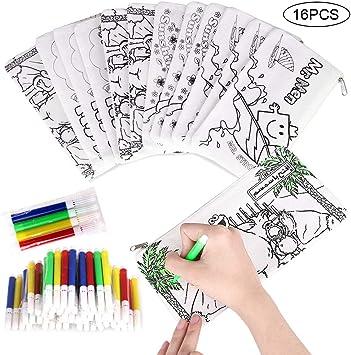 Faburo 16 Piezas Kit de Estuches para Colorear y Rotuladores de Colores, Incluye 16 Caja de Lápiz para Colorear y Mini Rotuladores de Tiza para Niños, Colegios, Regalos y Bolsas de Cumpleaños: