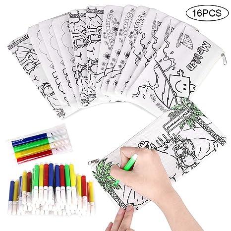 Faburo 16 Piezas Kit de Estuches para Colorear y Rotuladores de Colores, Incluye 16 Caja de Lápiz para Colorear y Mini Rotuladores de Tiza para Niños, ...