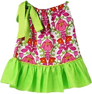 b80de6fad1ce4 Wholesale Princess Pillowcase Dress with Satin Tie - Lime & Hot Pink w/  Floral