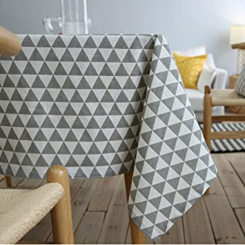 ColorBird Geometric Series Triangle Pattern Cotton Linen Tablecloth For  Dining Kitchen Living Decorative Tabletop Cover (