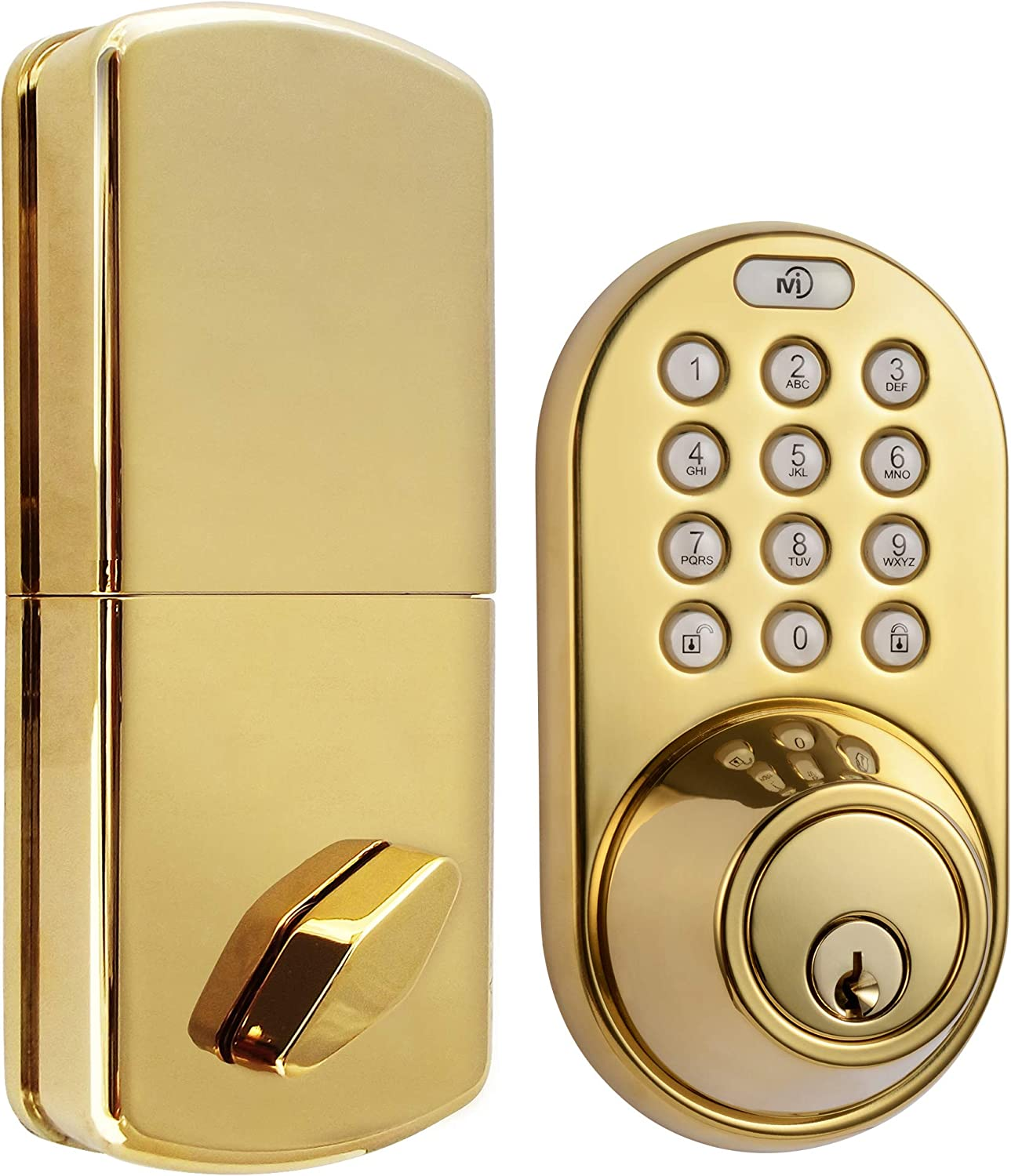 MiLocks TF-02P Digital Deadbolt Door Lock with Electronic Keypad for Exterior Doors, Polished Brass
