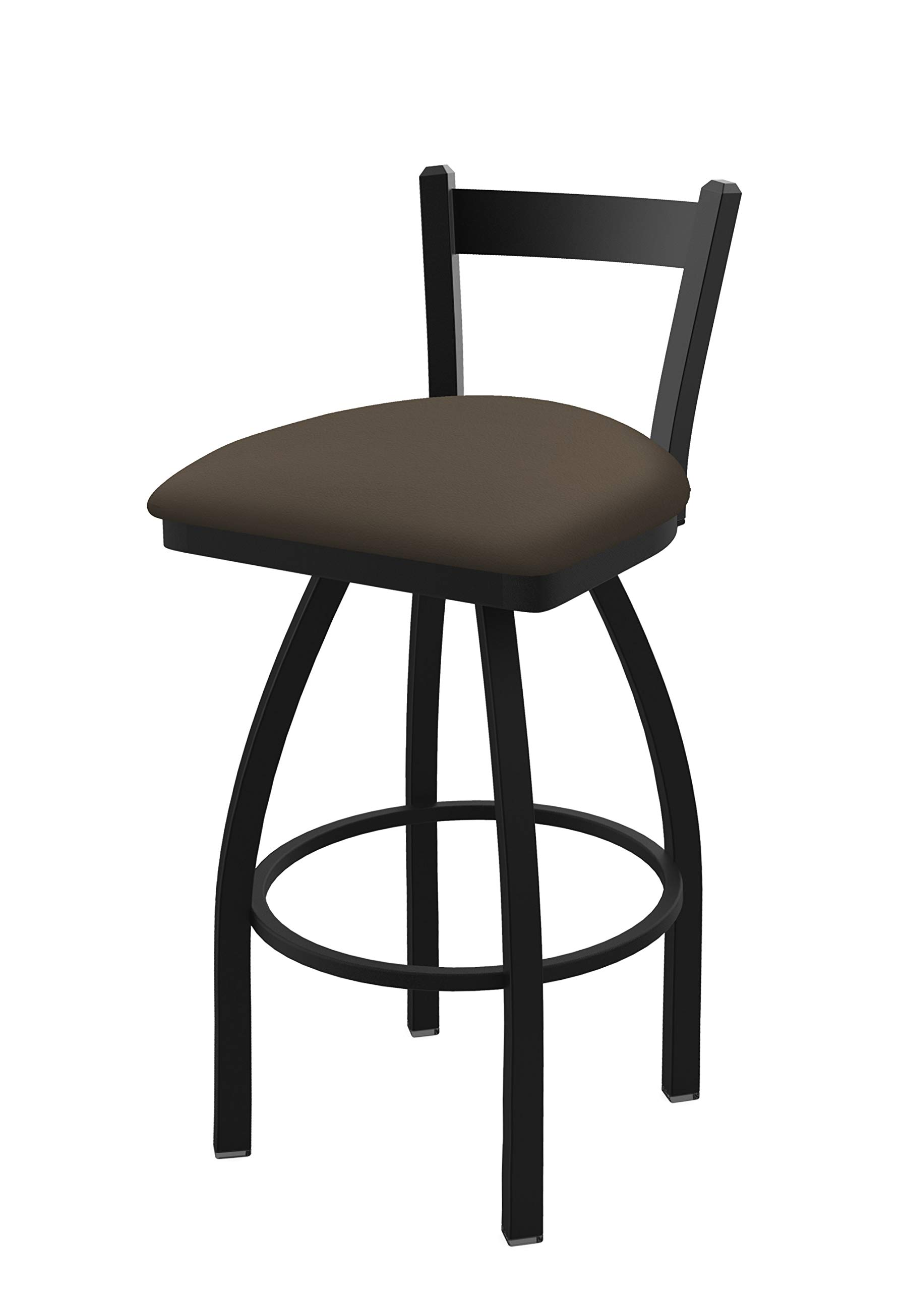 Holland Bar Stool Co. 82125BW006 821 Catalina 25'' Low Back Swivel Counter Black Wrinkle Finish and Canter Earth Seat Bar Stool