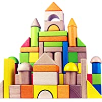 Migargle Wooden Building Blocks Set for Kids - Rainbow Stacker Stacking Game Construction Toys Set Preschool Colorful Learning Educational Toys - Geometry Wooden Blocks for Boys & Girls