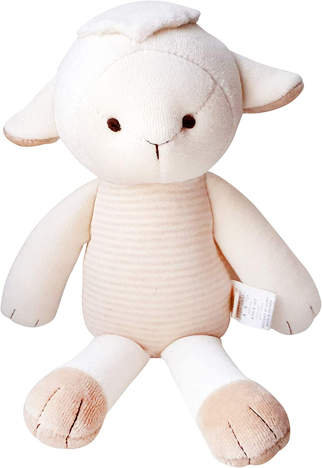 Blessnature] 100% Organic Stuffed Animal, Baby Doll, Tri-Colored Plush Toy (Jesus The Lamb)_12in