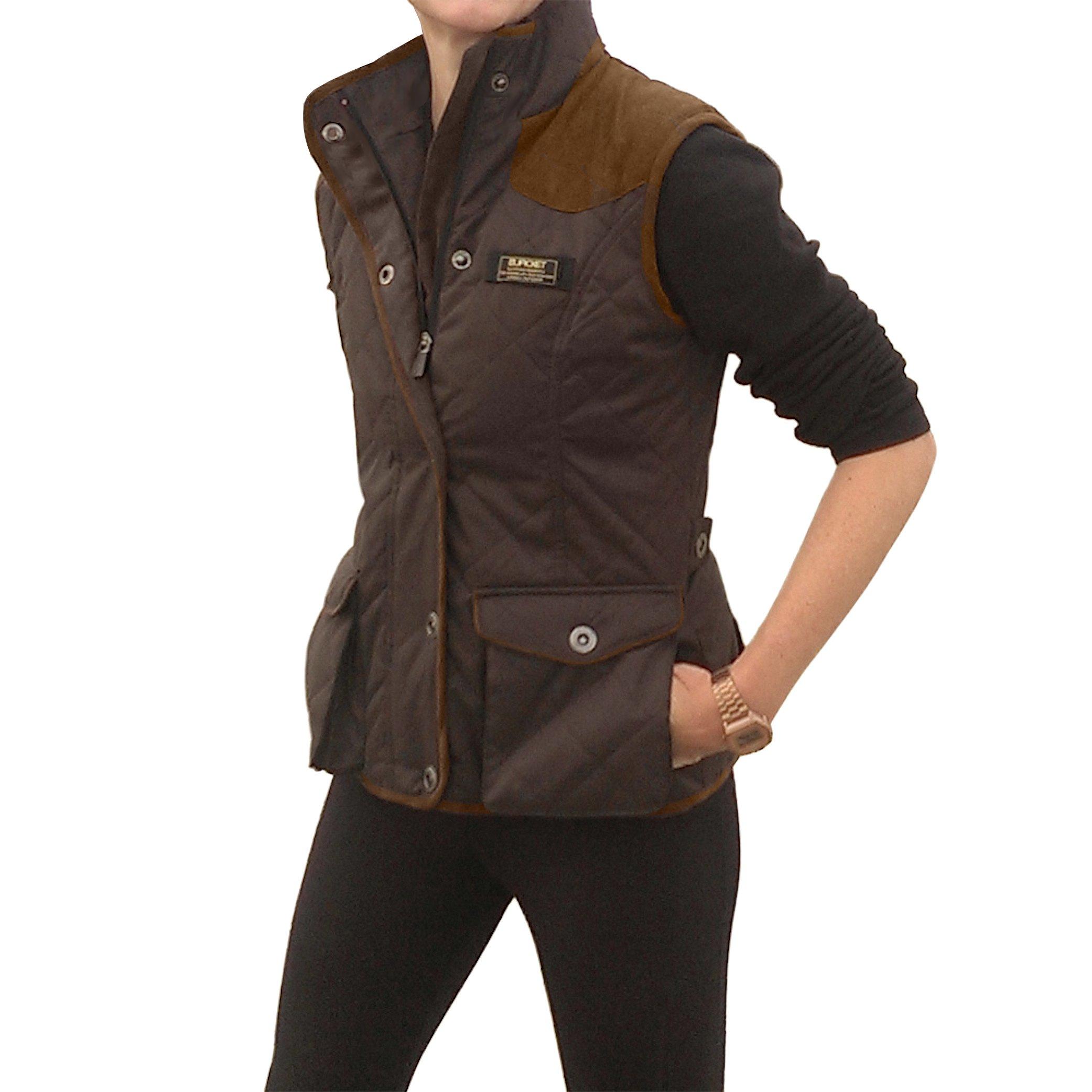 Baviera Women's Slimming Stretch Vest Adjustable Waist with Pockets (Large, Brown)