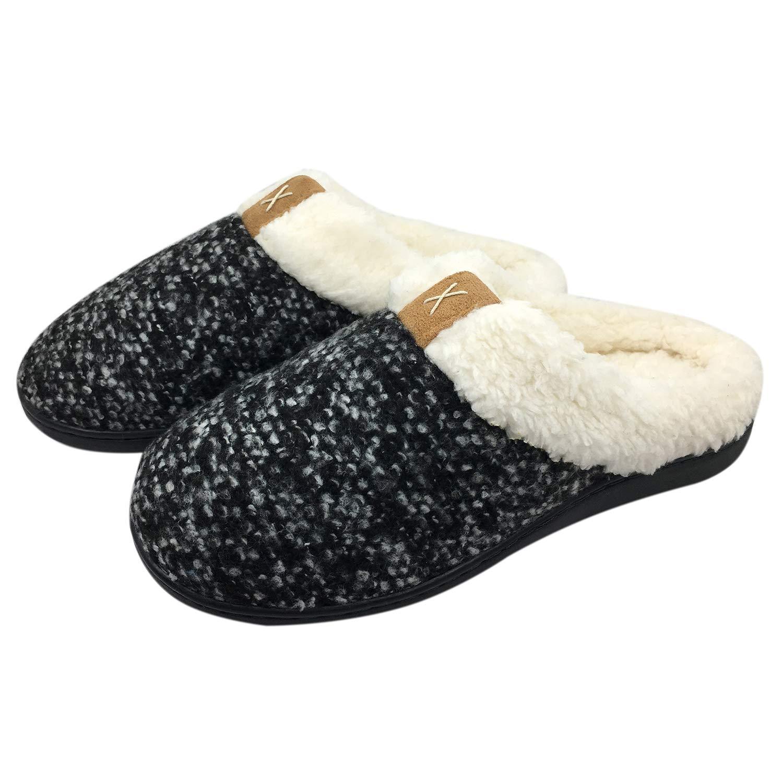 HAINE Women Rubber s Comfort Noir Memory Memory Foam Slippers Wool-Like Plush Fleece Lined House Shoes w/Indoor, Outdoor Anti-Skid Rubber Sole Noir cbeb8f5 - fast-weightloss-diet.space