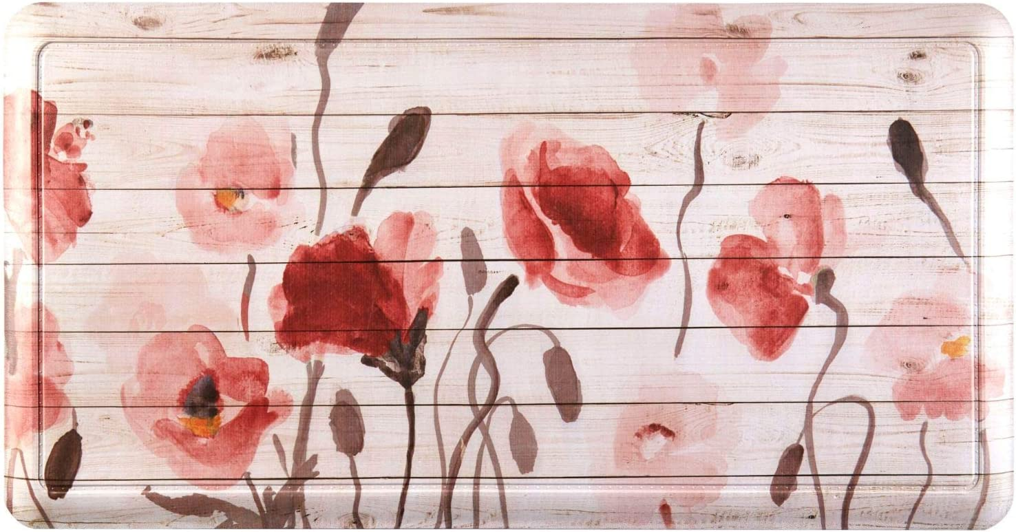 """Home Dynamix Printed Embossed Gentle Step Anti-Fatigue Kitchen Mat, 19.6""""x39.3"""", Floral"""